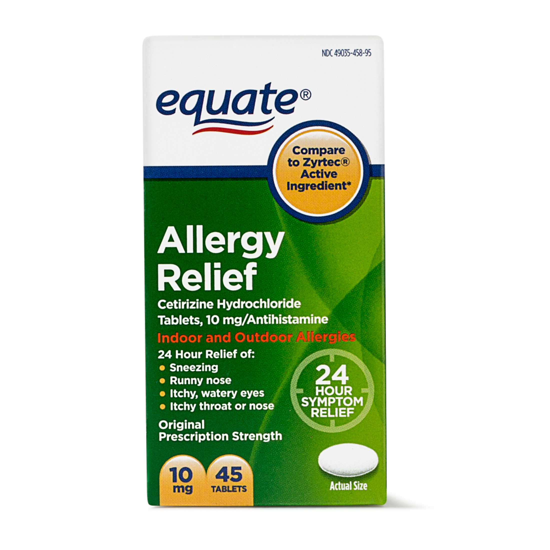 Equate Allergy Relief Cetirizine Antihistamine Tablets, 10 mg, 45 Ct - Walmart.com | Tuggl