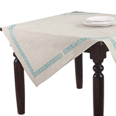 Calypso Stitched Greek Key Square Tablecloth (aqua)