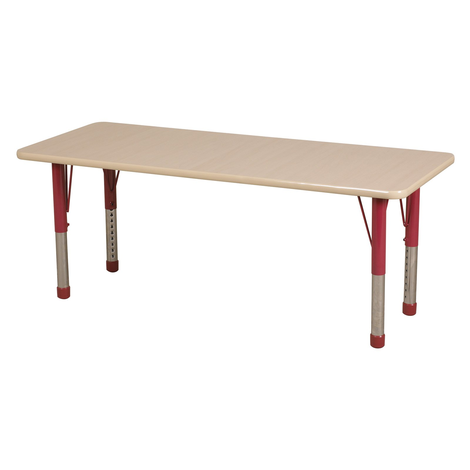 "24x72"" Rectangle Table-Color:Maple-Red,Glide:Chunky"