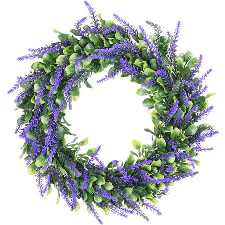 Coolmade Artificial Lavender Wreath, 15