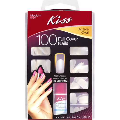 Kiss Full Cover Active Oval Medium Nail Kit, 100 count