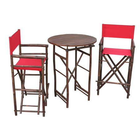 Outstanding Zew Hand Crafted 3 Piece Round Folding Bamboo Bar Height Patio Dining Set Onthecornerstone Fun Painted Chair Ideas Images Onthecornerstoneorg