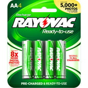 Rayovac Pre-charged Rechargeable NiMH AA Batteries, 4ct