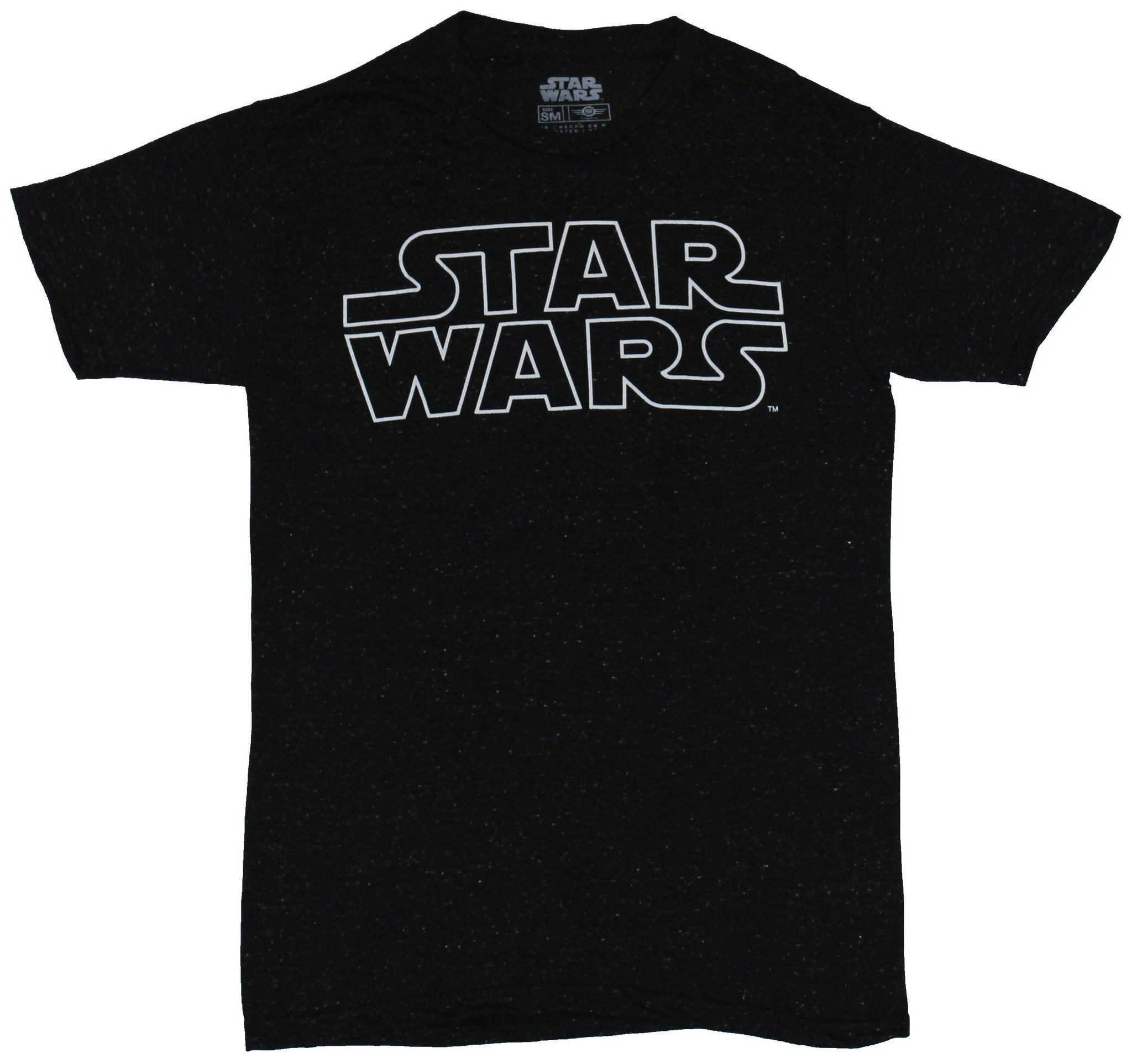 Star Wars Mens T-Shirt - Lined Classic White Word Outline Logo