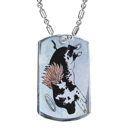 KuzmarK Silver Chrome Pendant Dog Tag Necklace - Flying Angel Pig Animal Art by Denise Every Chrome Dog Tag Necklace