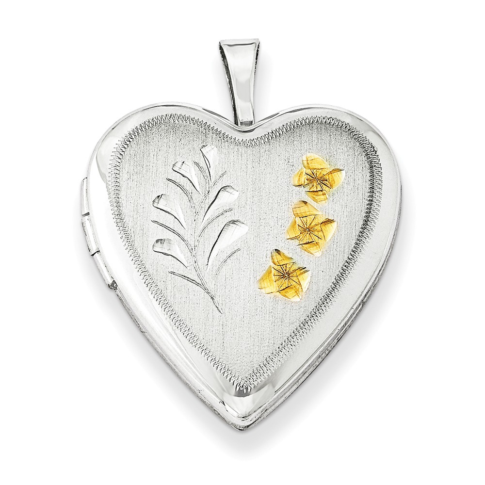 Sterling Silver 0.6IN Gold-Plated Wheat Heart Locket (0.7IN x 0.7IN )