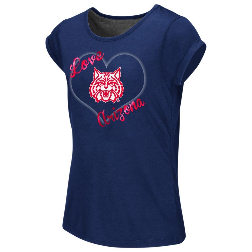 Arizona Wildcats Girls Tee Heathered Split Back T-Shirt