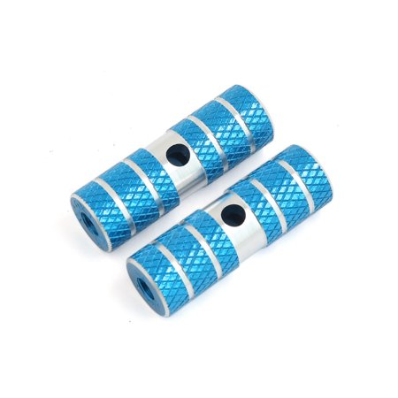Cycling BMX Bike Bicycle Cylinder Aluminum Alloy 3/8 Inch Axle Foot Pegs Pair Blue ()