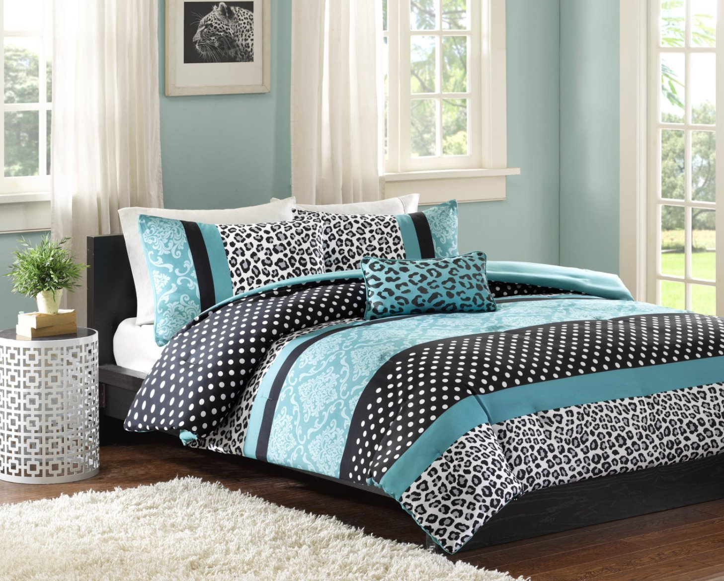comforter bed set teen bedding modern teal black animal