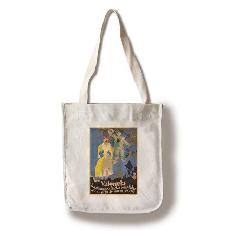 Spain - Valencia - Fiestas de las Fallas - (artist: Vercher, A. c. 1932) - Vintage Advertisement (100% Cotton Tote Bag - Reusable)