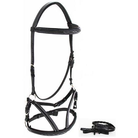 Horse English Leather WESTERN COB BLACK  BITLESS BRIDLE SIDEPULL REINS TACK 803S05-C ()