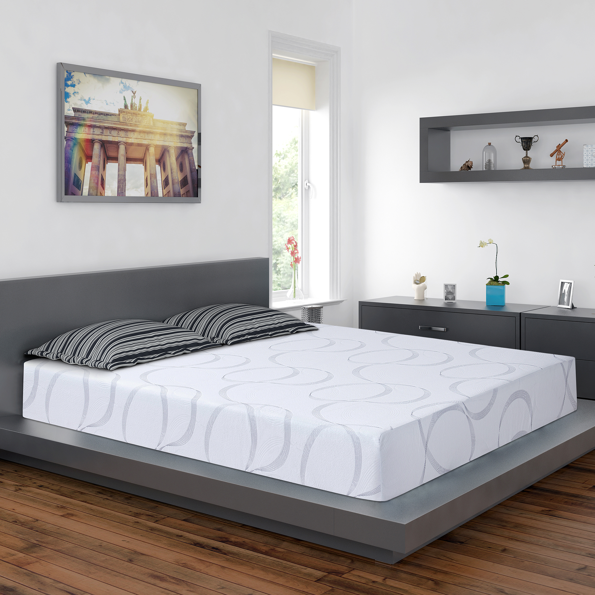GranRest 9 Inch HD I-Gel Memory Foam Mattress, King