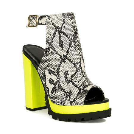 Women Peep Toe Lug Sole Mule Chunky Heel Sandal