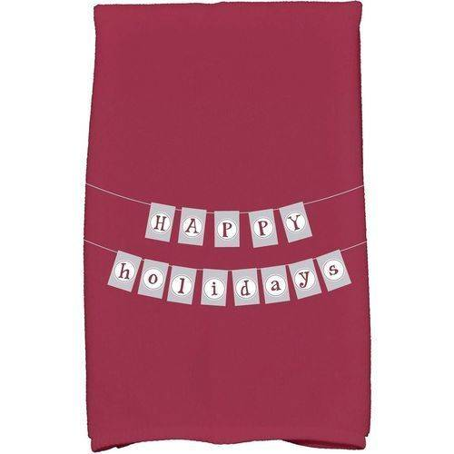 """Simply Daisy 16"""" x 25"""" Happy Holidays Banner Holiday Word Print Kitchen Towel by E By Design"""