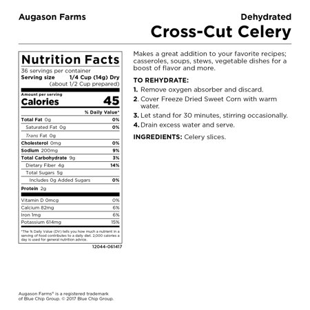 Augason Farms Dehydrated Cross Cut Celery 1 lb 2 oz No  10