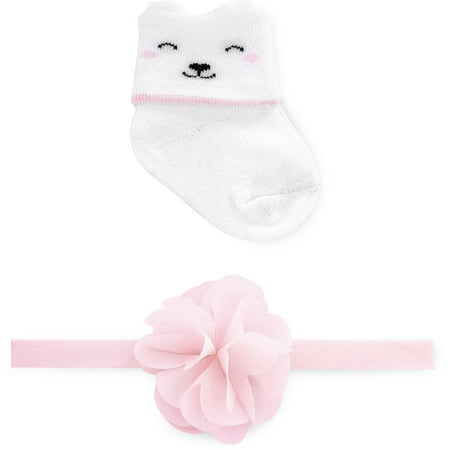 8371c28346a Child of Mine by Carter s - Newborn Baby Girls Sock and Headwrap Set ...