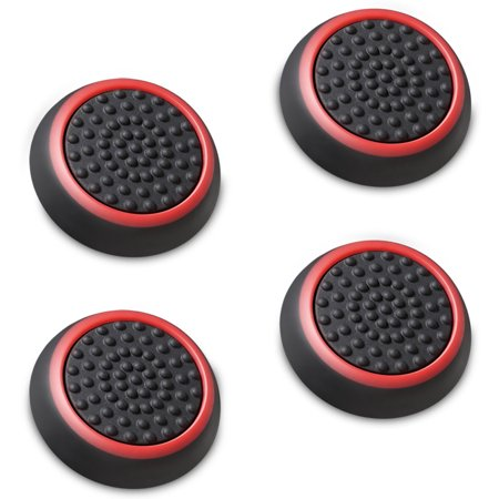 Fosmon [Set of 4] Analog Stick Thumb Grips for Xbox One X / S, Xbox 360  Wii U Gamepad, Nunchuk PS4, PS3 - Black/Red