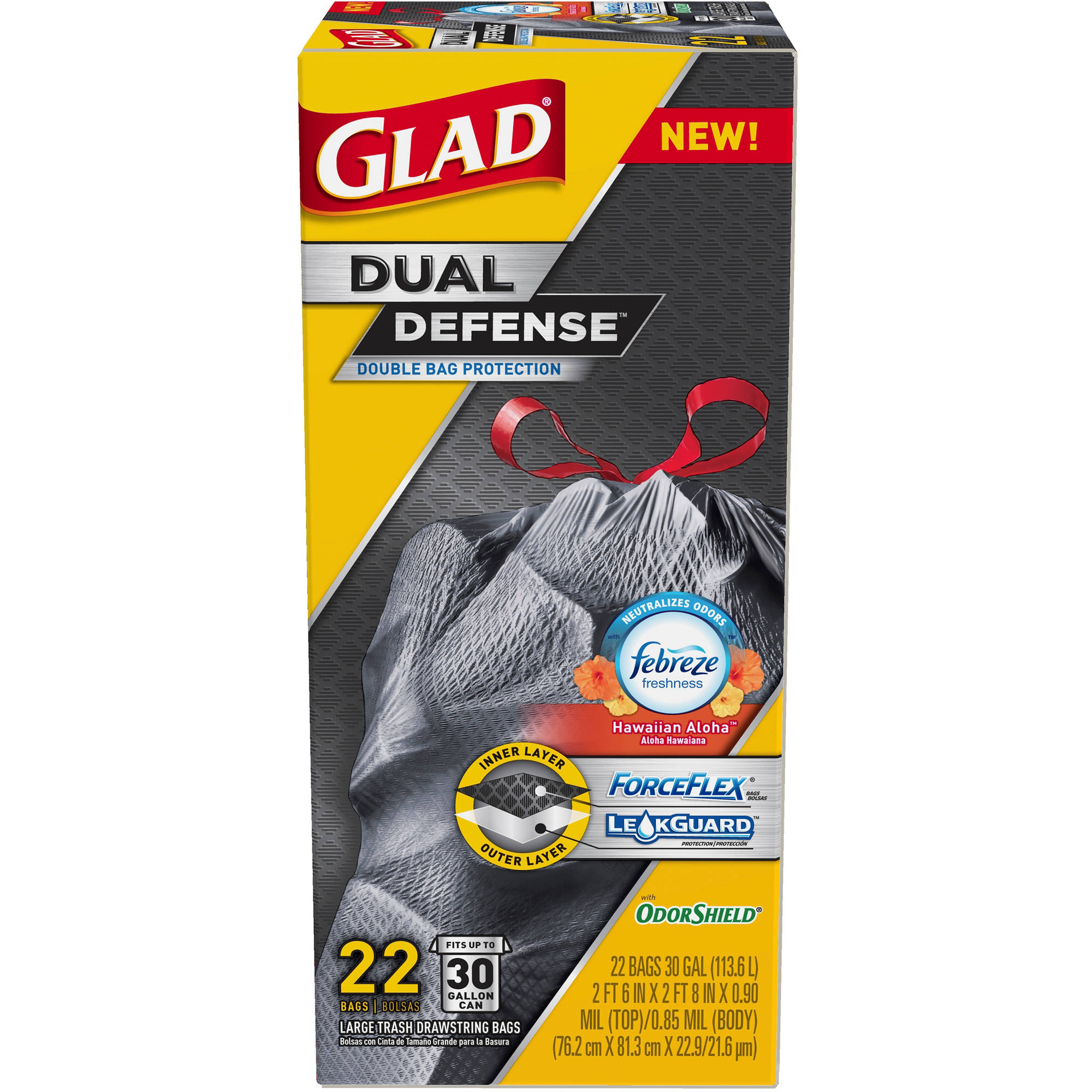 Glad ForceFlex OdorShield Large Extra Strong Drawstring Trash Bags, 30 gal, 22 count