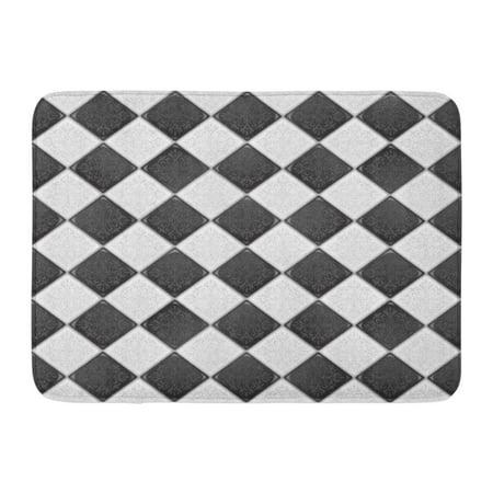 SIDONKU Floor Black and White Retro Victorian Pattern Checkerboard Stone Doormat Floor Rug Bath Mat 23.6x15.7 inch - Black And White Checkerboard Floor
