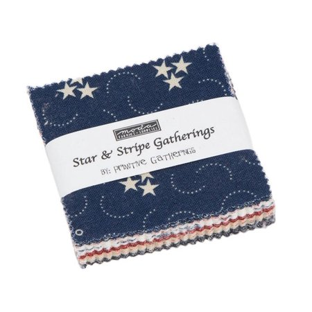 Star & Stripe Gatherings Moda Mini Charm Pack by Primitive Gatherings; 42 - 2.5
