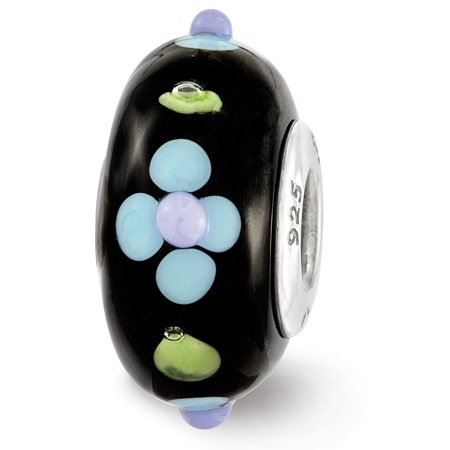 Fenton Black Hand Painted Blue Floral Glass & Sterling Silver Charm