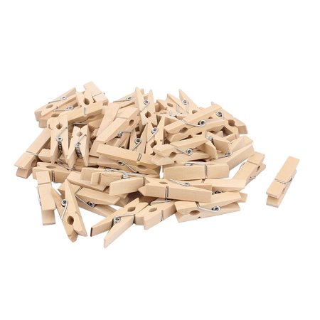 Wood Wood Clothing - Unique Bargains Wood Clothespin Clothes Photo Paper Peg Craft Clips Pins 35mm Long 50PCS for Home Essential