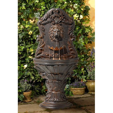 John Timberland Antiqued Outdoor Wall Water Fountain with LED Light 50