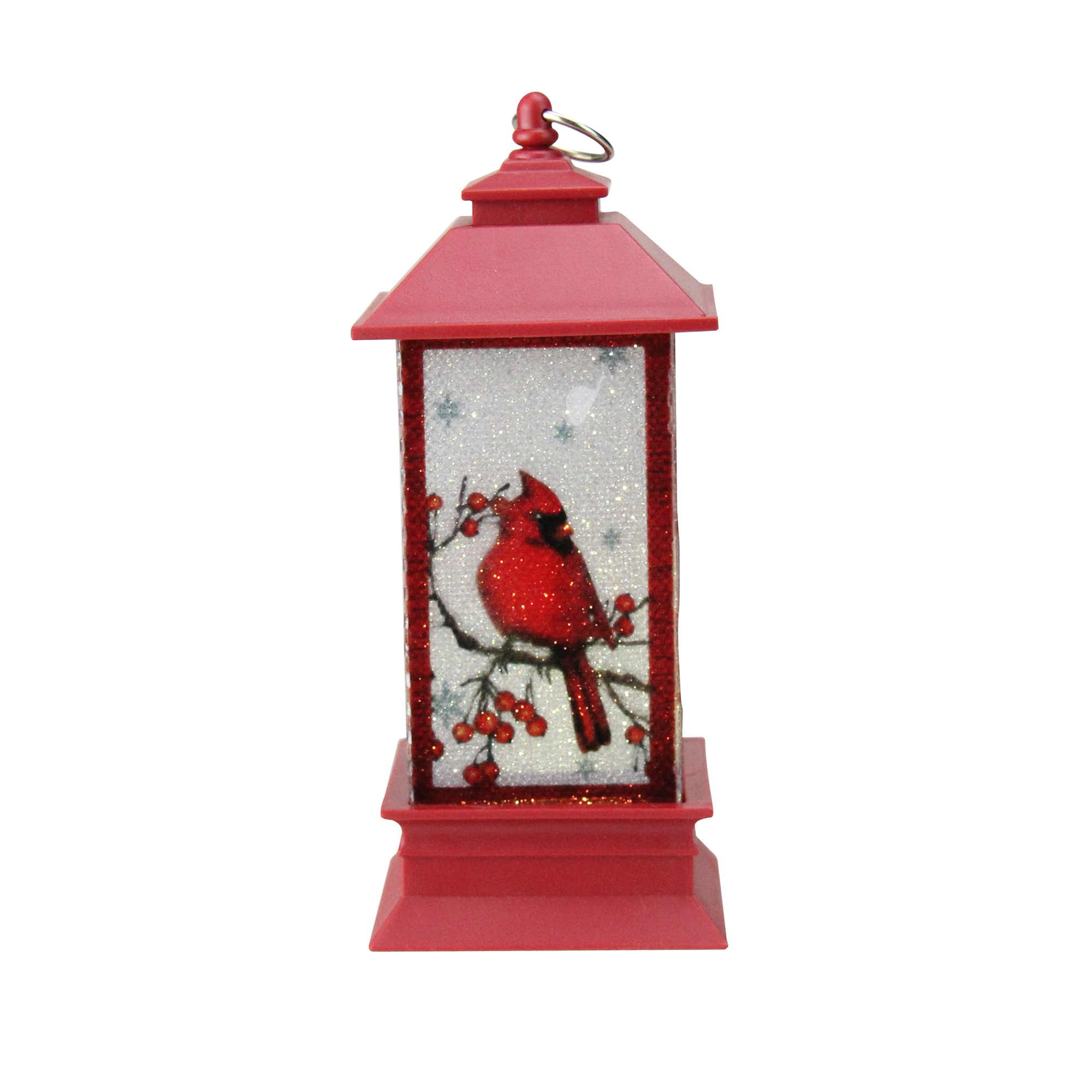 Plastic Inspirational Celebrate The Season Swirl Cardinal Lantern on Pedestal Durable Home Decor Battery Operated Roman Christmas Christmas Decor Christmas Collection 12 H