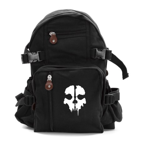 Call of Duty Ghost Skull Logo Army Sport Heavyweight Canvas Backpack (Best Get Home Bag Backpack)