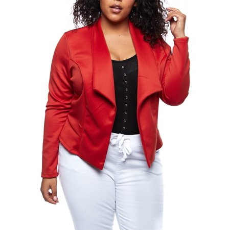 Womens Plus Classic Solid Color Open Front Office Blazer Jacket PJKT-1033-XL-RED