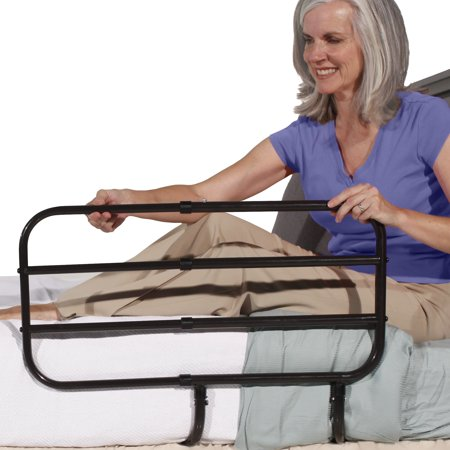 Image of Able Life Bedside Extend-A-Rail - Adjustable Length Adult Home Bed Rail and Stand Support Handle + Included Safety Strap