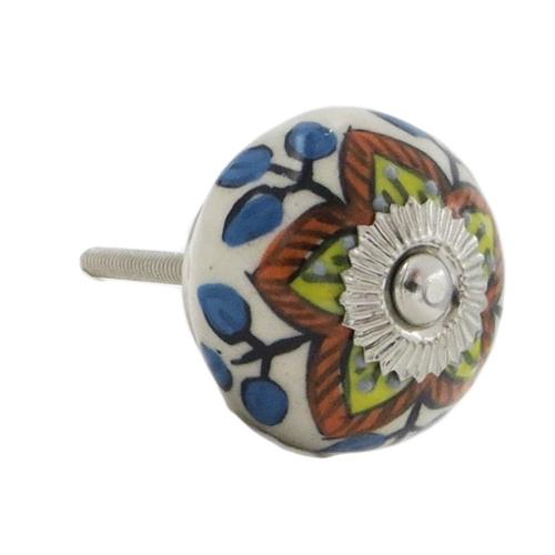 Shabby Restore Yellow and Red Floral Design Knobs (Set of 6)