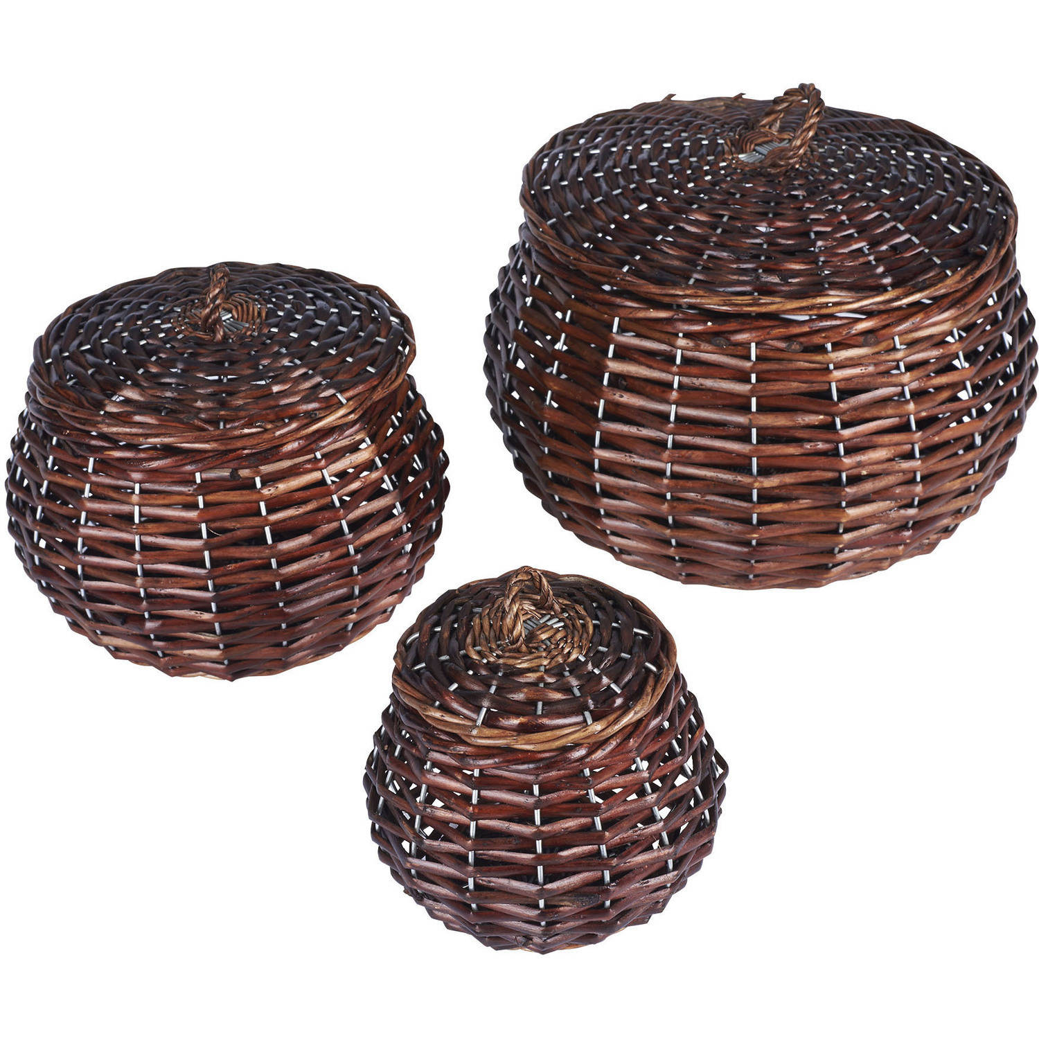 Household Essentials Toppins Round Willow Storage Basket, 3-Piece Set