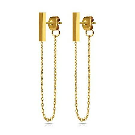 BodyJ4You Stud Earrings Modern Fashion Bar Chain Goldtone Stainless Steel Women Piercing Jewelry ()