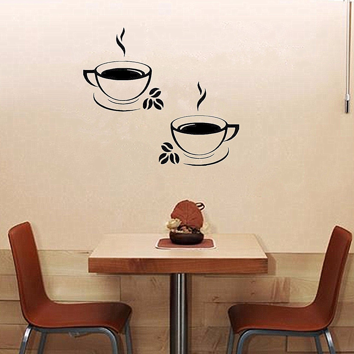 2Pcs Vinyl Home Room Decor Art Cafe coffeecupssticker Wall Decal Stickers Bedroom Removable Mural DIY Waterproof