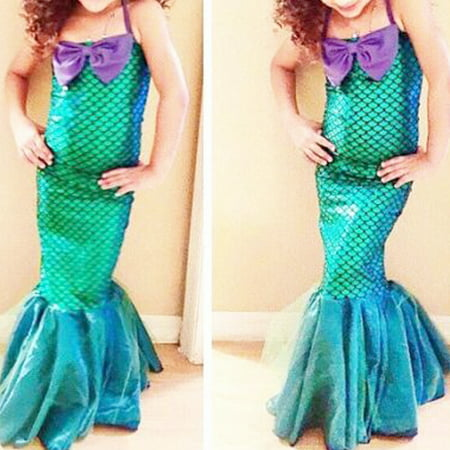 Fashion Baby Kids Sequin Little Mermaid Set Girls Princess Fancy Dress Up Party Costume Blue 3-4Y