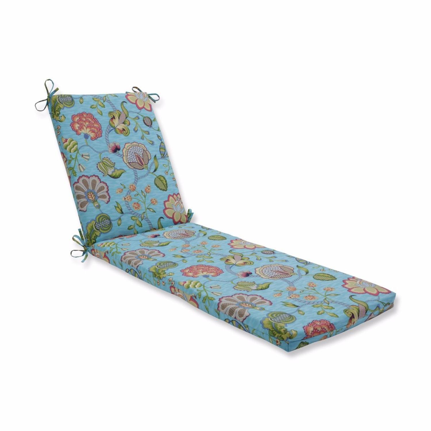"""80"""" Blue and Green Floral Designed UV Resistant Outdoor Patio Chaise Lounge Cushion"""