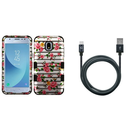 TUFF Hybrid Protective Phone Cover Case (2D Pink Roses Silver) with Heavy Duty Braided Micro USB Cable (5 Feet / 1.5 Meters) and Atom Cloth for Samsung Galaxy Express Prime 3 (AT&T)