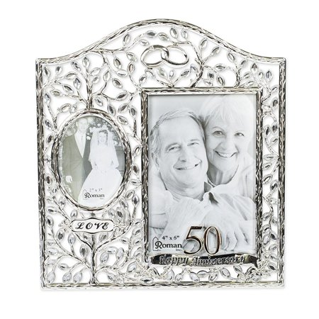 Roman 13811 Then And Now 50th Anniversary Photo Frame Walmartcom