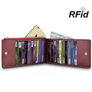 Njjex Women's RFID Blocking Genuine Leather Multi Card Organizer Wallet with Zipper Pocket -Red