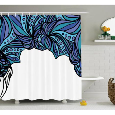 Octopus Shower Curtain Abstract Tentacle Pattern With Intertwined Parts Marine Twisted Fabric Bathroom Set