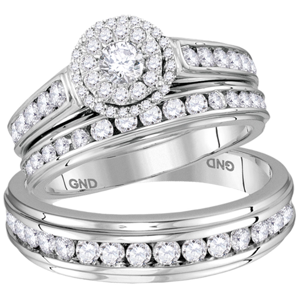 14kt White Gold His & Hers Round Diamond Solitaire Matching Bridal Wedding Ring Band Set 1-5 8 Cttw by