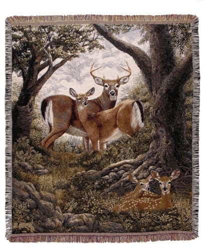 Deer Hidden Eyes Nature Deluxe Tapestry Throw Blanket