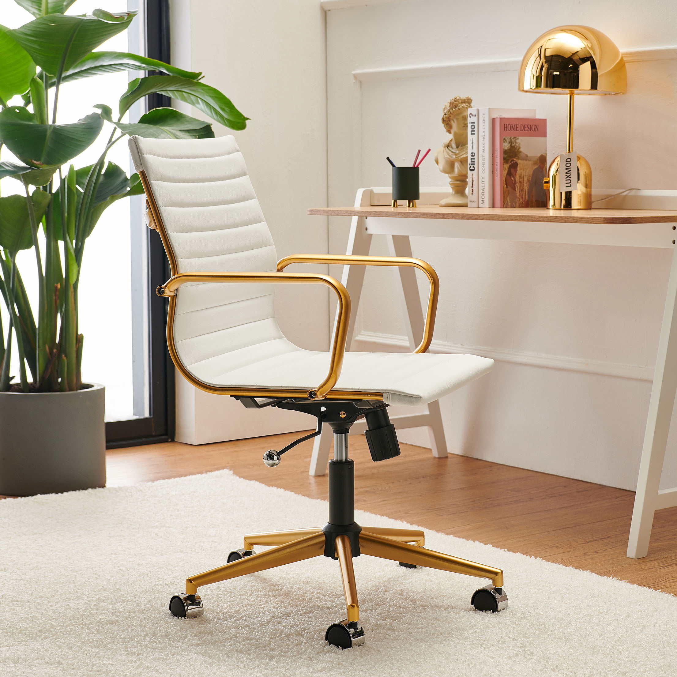 Luxmod Mid Back Gold Office Chair In, White Leather Computer Chairs