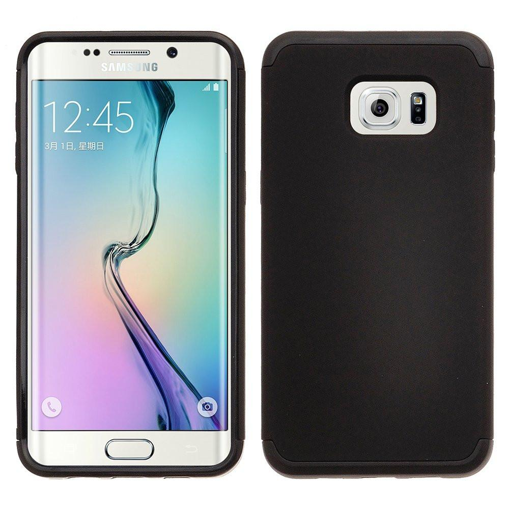Galaxy S6 Edge Plus [Shock Absorption/Impact Resistant] Hybrid Dual Layer Armor Defender Protective Case Cover - Black