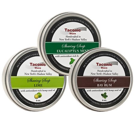 Taconic Shave Barbershop Quality 3 Shaving Soap Variety Pack - with Antioxidant-Rich Hemp Seed Oil - Made in New York