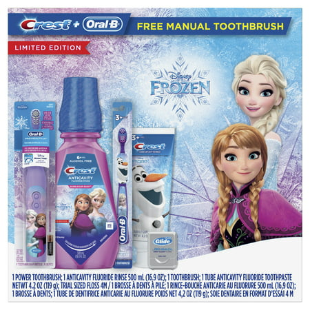 Crest & Oral-B Kids Holiday Gift Pack with Power & Manual Toothbrush, 4.2 oz Toothpaste, 16.9 oz Mouthwash and Floss featuring Disneys Frozen