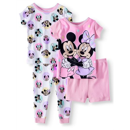 Minnie Mouse Baby girls' minnie mouse cotton tight fit pajamas, 4-piece set