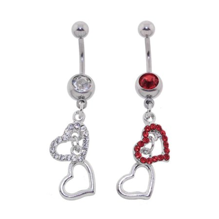 Lex & Lu Steel CZ Gem Belly Button Ring Navel Piercing Two Heart Dangle