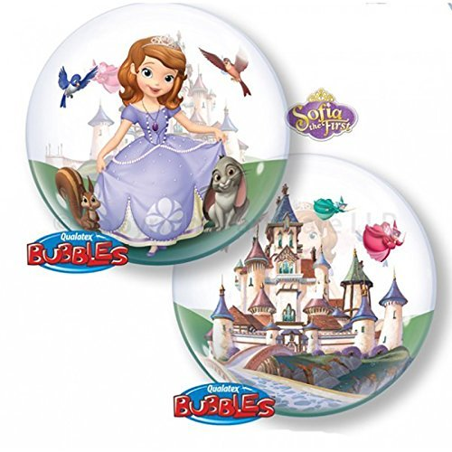 "Sofia the First 22"" Bubble Balloon, Design: Clear balloon with Sofia and her animal friends on one side and the castle on the other side. By Qualatex"
